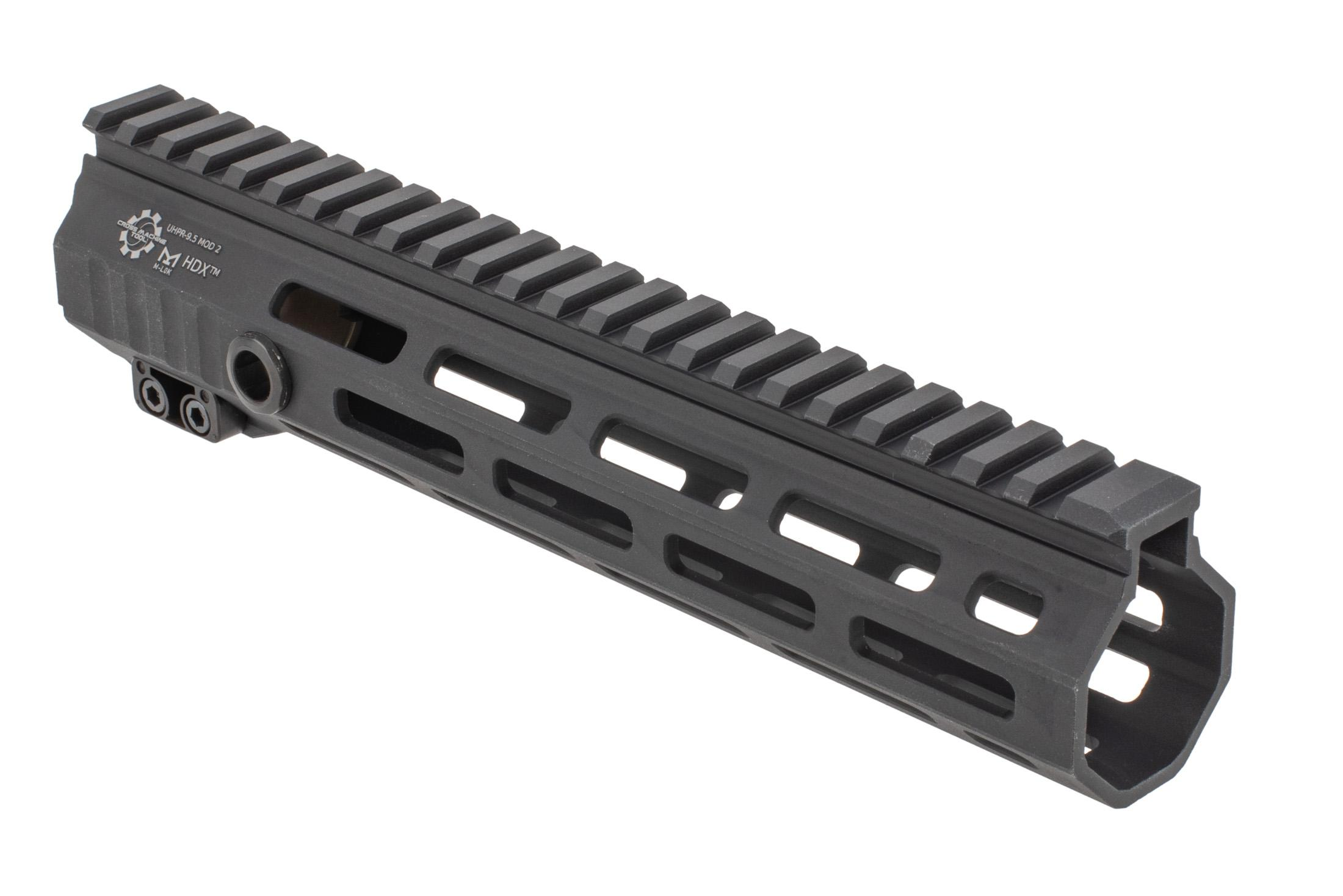 The UHPR 9.5 Mod 2 HDX M-LOK handguard features relief cuts in the picatinny rail to reduce weight