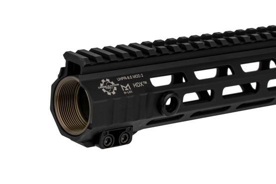 The CMT UHPR Mod 2 HDX 9.5 inch AR-15 handguard features a black hardcoat anodized finish