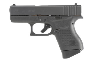 The Glock 43 9mm subcompact pistol holds 6 rounds in an extended magazine