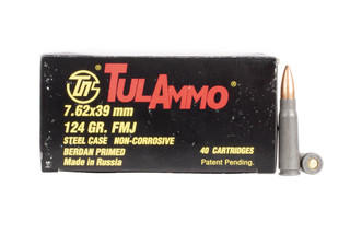 Tula Ammo 7.62x39mm Ammunition is reliable, berdan primed, steel case ammunition with 124-gr full metal jacket bullets.