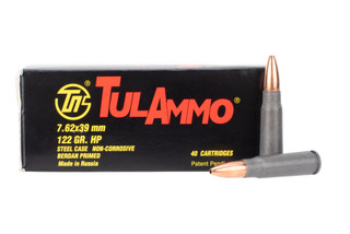 TulAmmo 762x39 steel cased hollow point ammo comes in a box of 40 rounds
