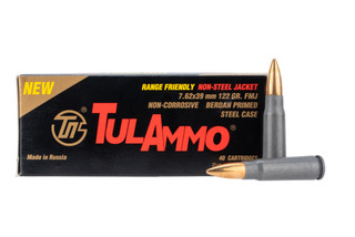 TulAmmo 762x39 steel cased ammo features a 122 grain FMJ bullet
