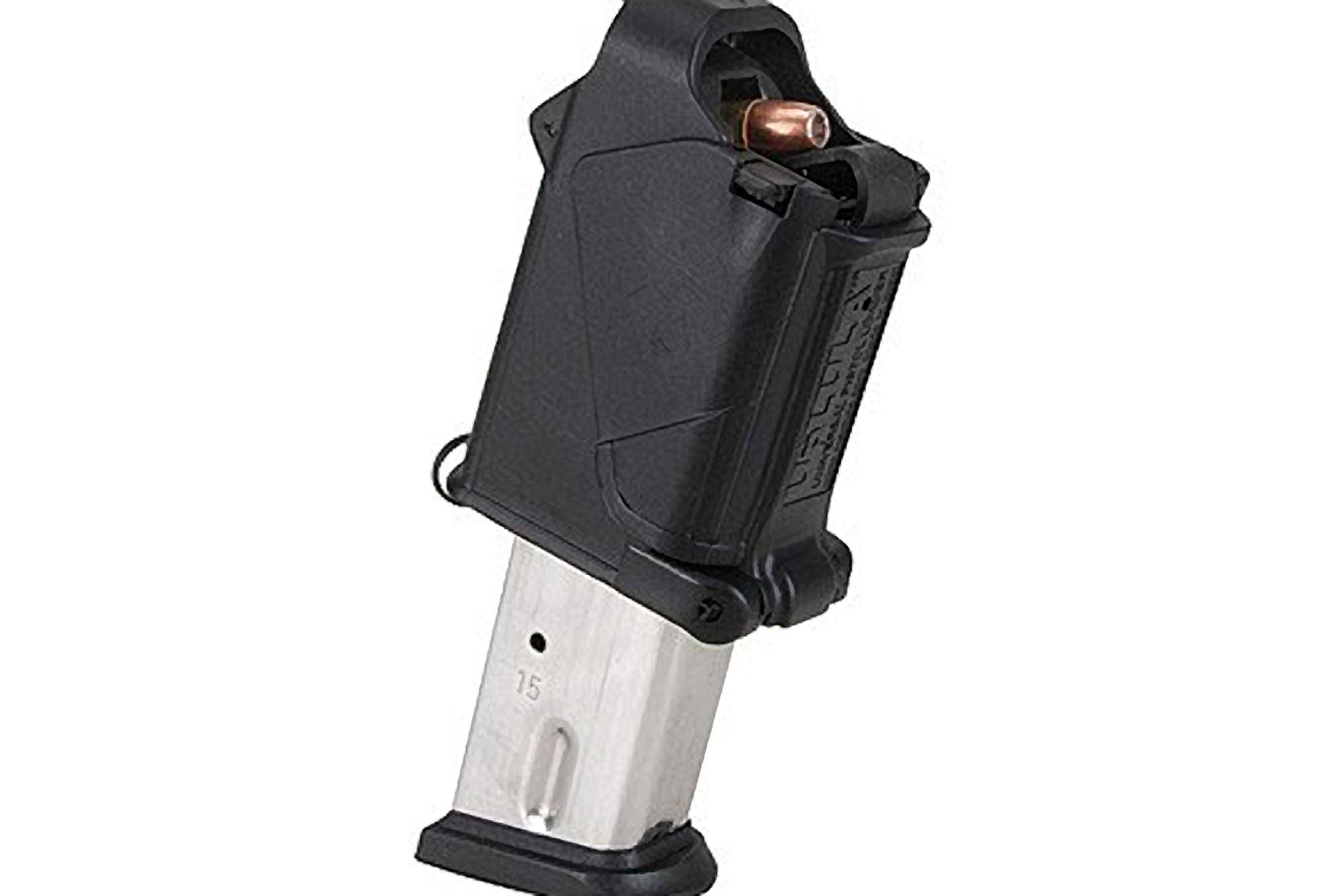 The Black Maglula UpLULA Universal Pistol Magazine Loader is compatible with 9mm up to .45 ACP double stack magazines