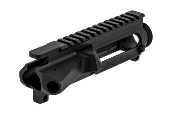 The Cross Machine Tool AR-15 billet upper receiver group features a black hardcoat anodized finish