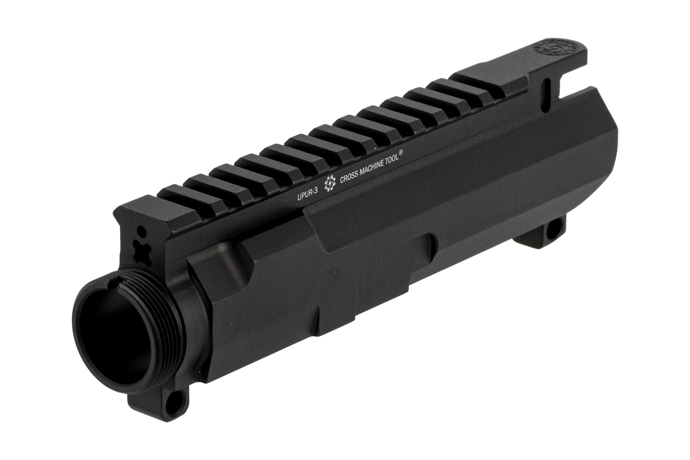The Cross Machine Tool UPUR .458 SOCOM upper receiver features a black hardcoat anodized finish