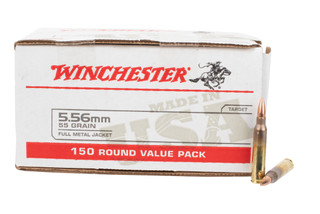 Winchester white box 556 NATO ammo features a 55gr fmj bullet