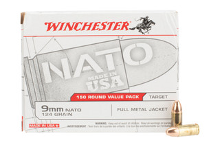 Winchester Ammo USA 9mm NATO 124 Grain Full Metal Jacket Box of 150 are boxer primed and come in a brass case