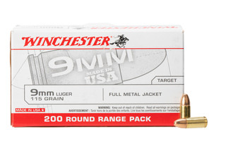 Winchester 9mm FMJ Ammo comes in a box of 200
