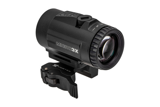 Vortex Optics 3x Micro magnifier features adjustable ocular adjustments with a protected quick-detach lever.
