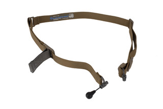 Blue Force Gear's coyote Vickers 221 1.25in sling easily converts from 2-point to 1-point and is equipped with RED Swivels