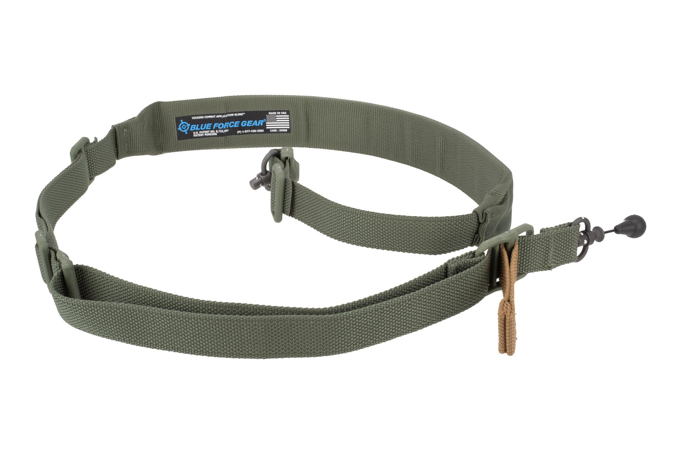 Blue Force Gear Vickers 221 Convertible Padded 2.00 Rifle Sling RED Swivels - OD Green