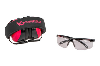 Pyramex Venture Gear Ever-lite range kit includes pink 99% UV blocking safety glasses and 35dB electronic hearing protection