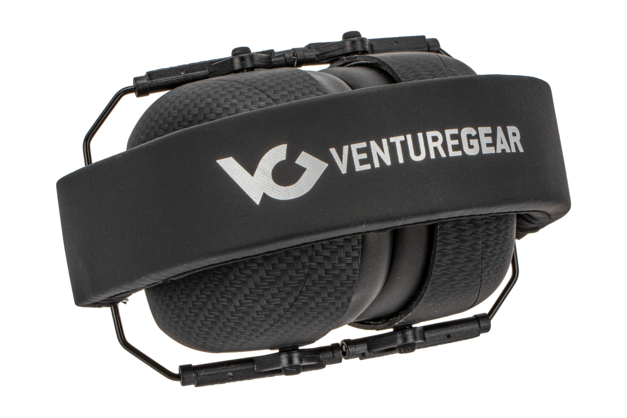 Pyramex Venture Gear over-ear VG80 carbon fiber hearing protection stores in a compact and handy package for range bags.
