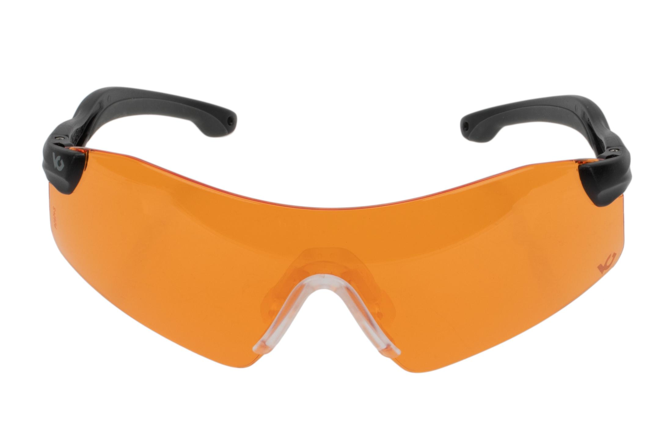 Pyramex Drop Zone Safety Glasses feature 4 interchangeable ballistically rated lenses. Shown with Orange.