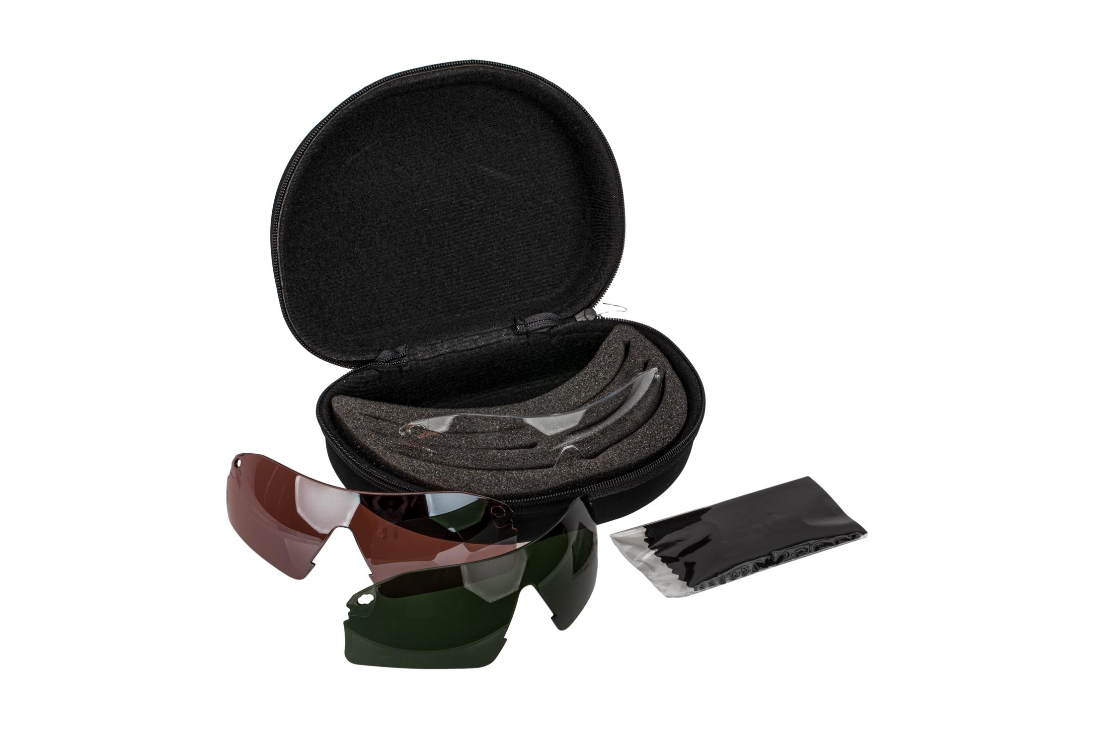 Pyramex Drop Zone Safety Glasses Interchangeable Lens Kit includes 4 ballistically rated lenses that stop 100% of UV light.