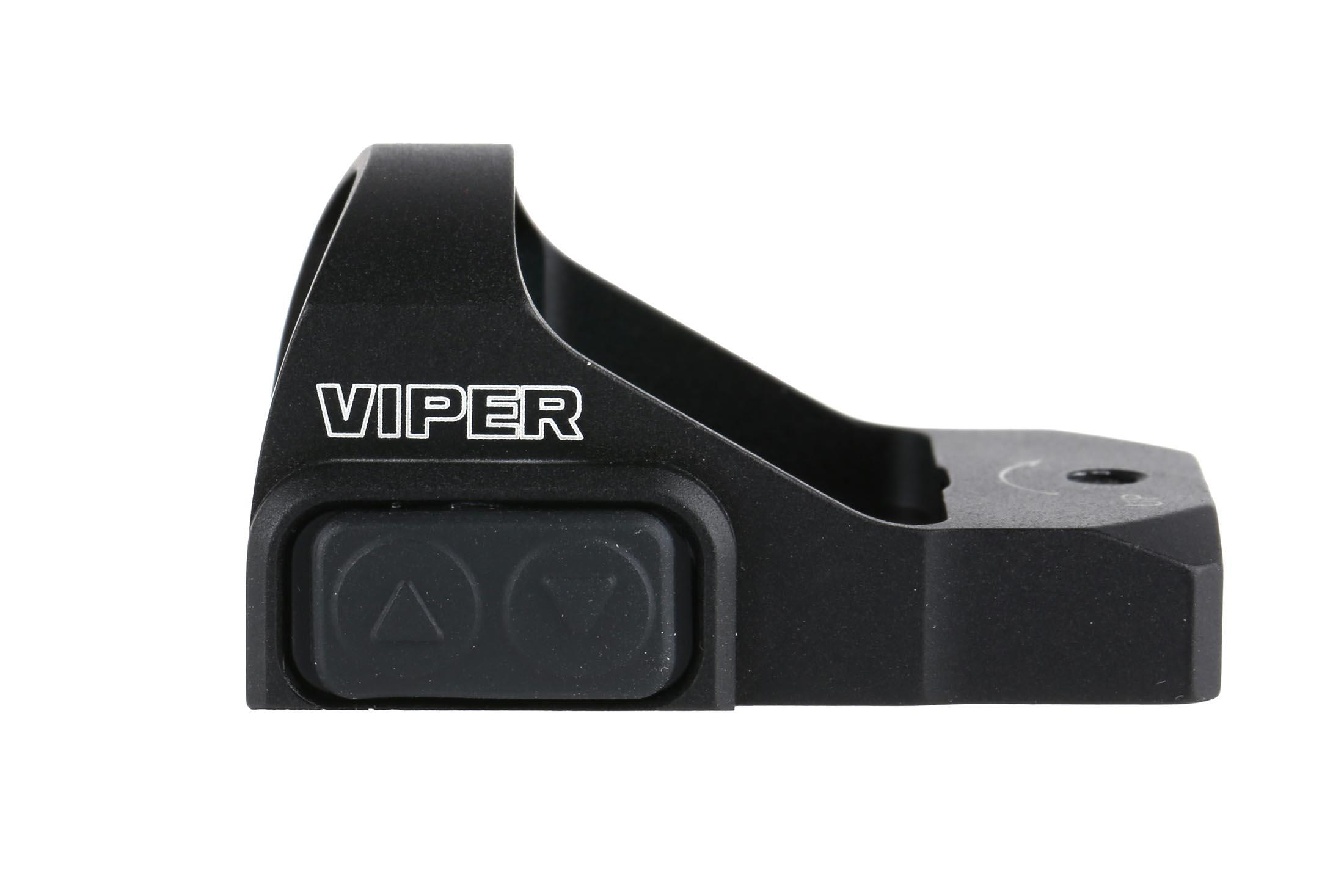 The Vortex 6 MOA red dot reflex sight has rubberized and weatherproof illumination setting buttons