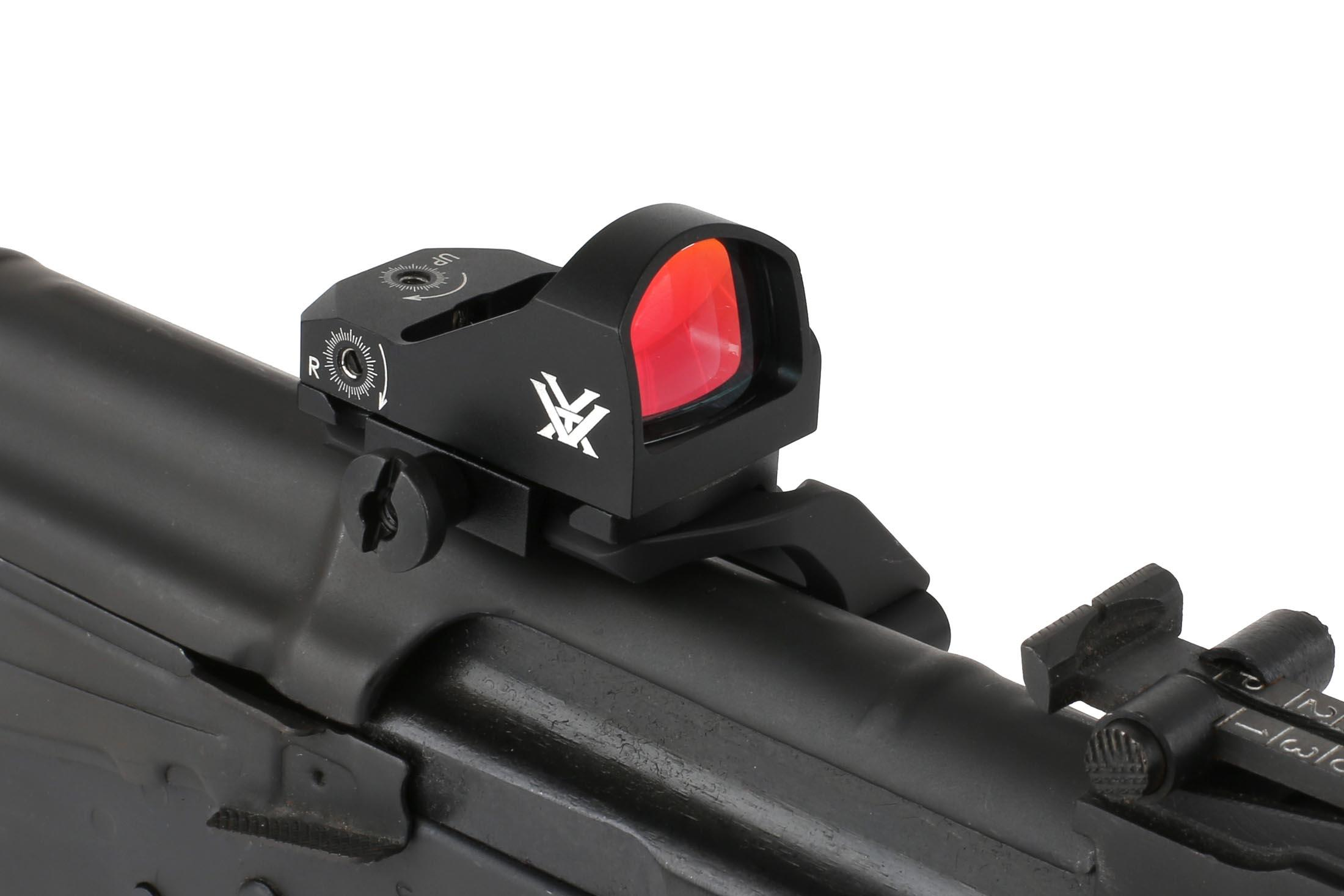 The Vortex Optics red dot reflex sight can be mounted to an AK-47