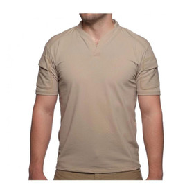 Velocity Systems Boss Short Sleeve Rugby Shirt in earth brown from front