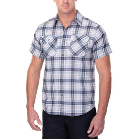 Vertx Short Sleeve Guardian Shirt in indigo plaid from the front