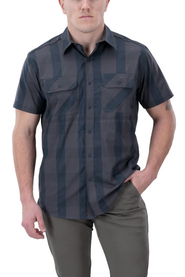 Vertx Guardian 2.0 Short Sleeve Shirt in blue ash plaid from front