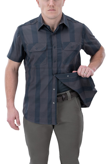 Vertx Guardian 2.0 Short Sleeve Shirt in blue ash plaid with concealed carry function