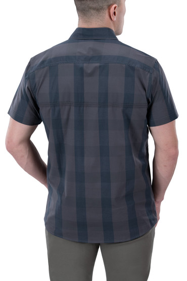 Vertx Guardian 2.0 Short Sleeve Shirt in blue ash plaid from back