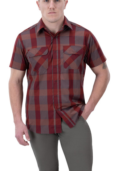 Vertx Guardian 2.0 Short Sleeve Shirt in campfire red plaid from front