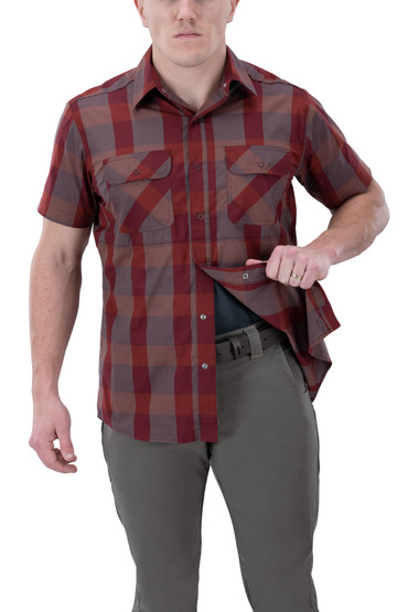 Vertx Guardian 2.0 Short Sleeve Shirt in red plaid with concealed carry function
