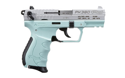 The Walther PK380 is a .380 ACP Compact 8-Round Handgun with a 3.6 inch Barrel and Angel Blue polymer frame for concealed carry