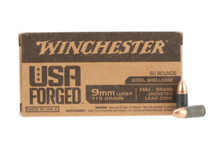 Winchester Forged 9mm Luger 115 Gr Full Metal Jacket Ammo are boxer primed and come in a brass case