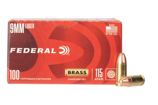 Federal Brass 9mm FMJ ammo comes in a box of 100 rounds