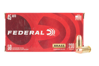 Federal Champion 45 ACP Ammo features a full metal jacket bullet