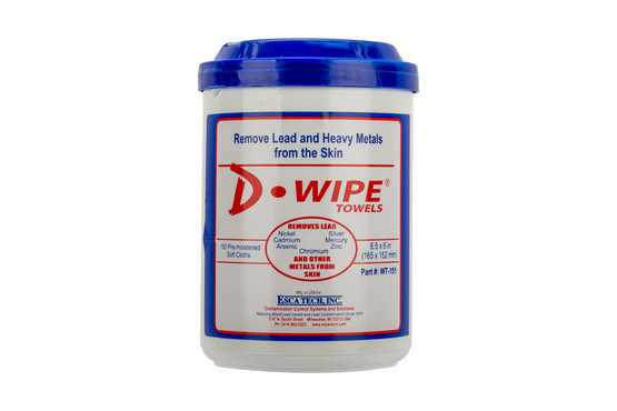 ESCA Tech D-Wipe disposable lead removing towels in a 150 count canister.