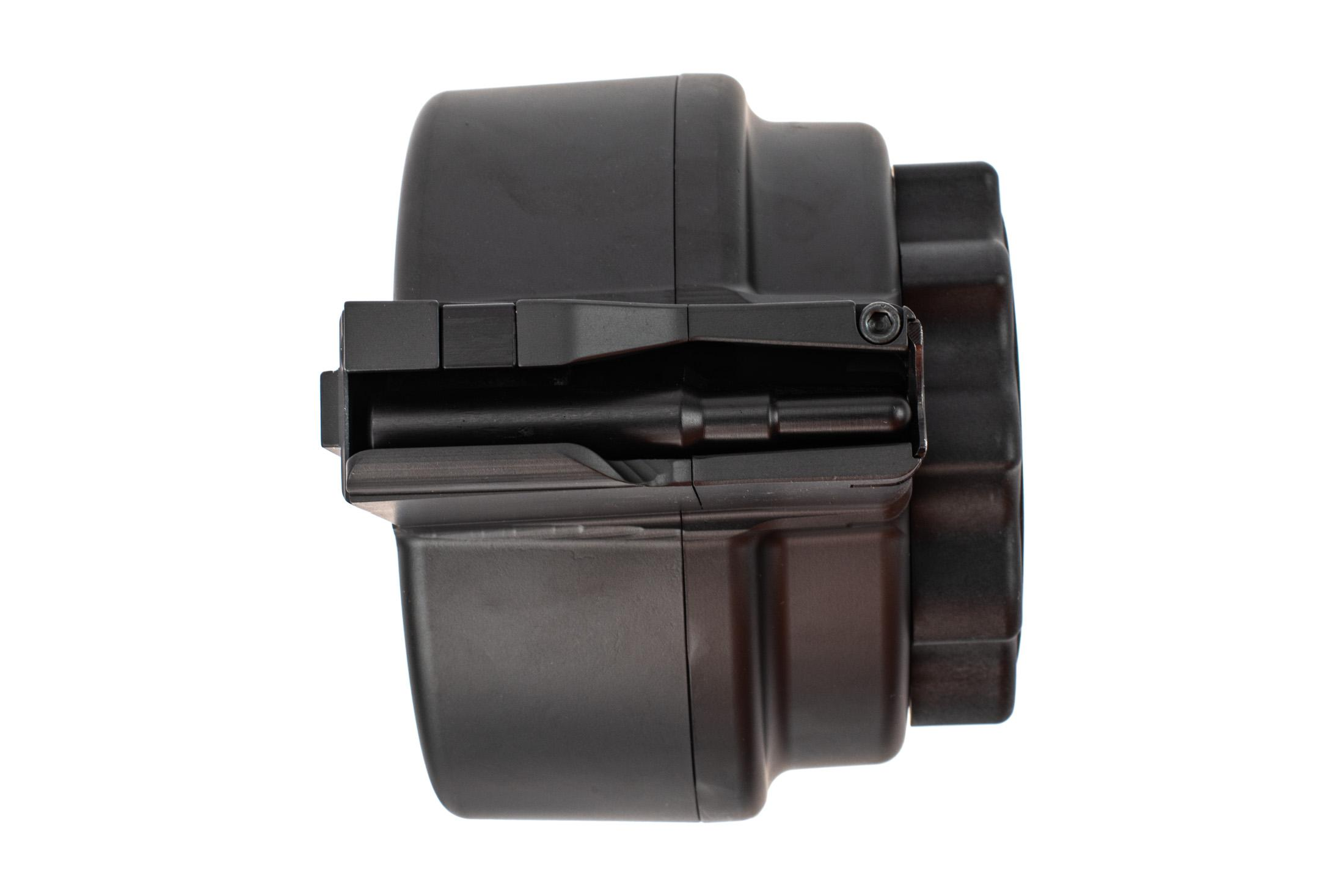 X Products X-14 drum magazine holds 50 rounds of 7.62 NATO in a compact reliable design.
