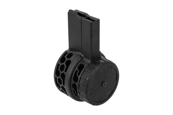 X Products 50rd HXP skeletonized AR-15 drum magazine with black finish features hex skeletonizing