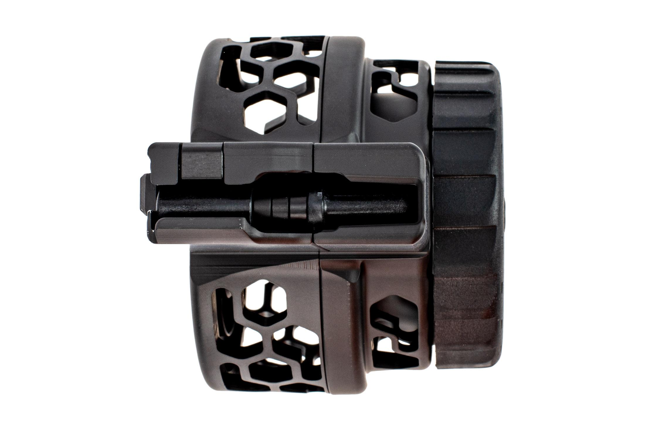 X Products 50 round AR-15 drum magazine has a compact reliable design for 5.56 nato and hex pattern skeletonizing.