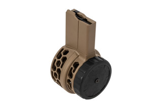 X Products 50rd HXP skeletonized AR-15 drum magazine with Flat Dark Earth finish features hex skeletonizing