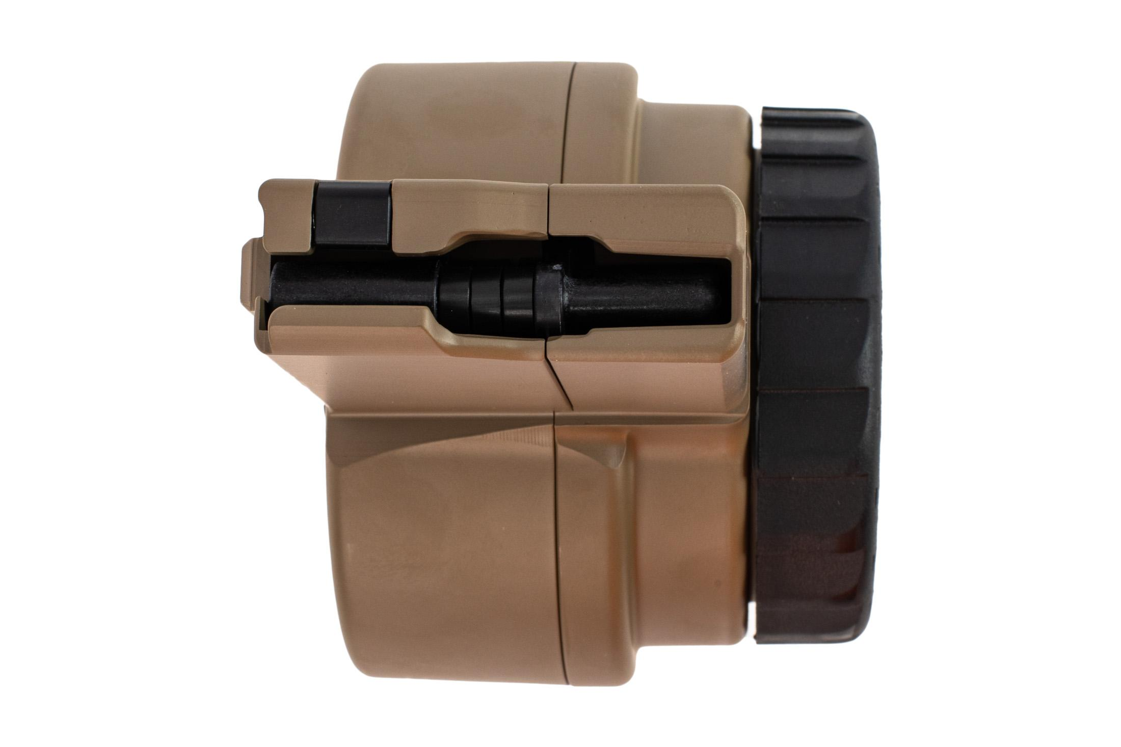 X Products 50 round FDE AR-15 drum magazine has a compact reliable design for 5.56 nato