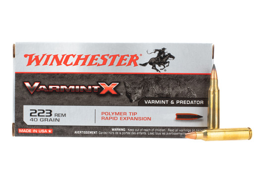 Winchester .223 Rem ammo features a 40 grain polymer tipped bullet