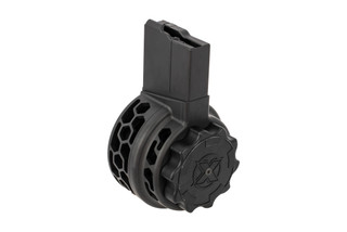 X Products 50rd HXP skeletonized SR25 drum magazine with black finish features hex skeletonizing