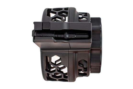 X Products 50 round SR25 drum magazine has a compact reliable design for 7.62 nato and hex pattern skeletonizing.