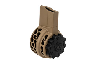 X Products 50rd HXP skeletonized SR25 drum magazine with Flat Dark Earth finish features hex skeletonizing