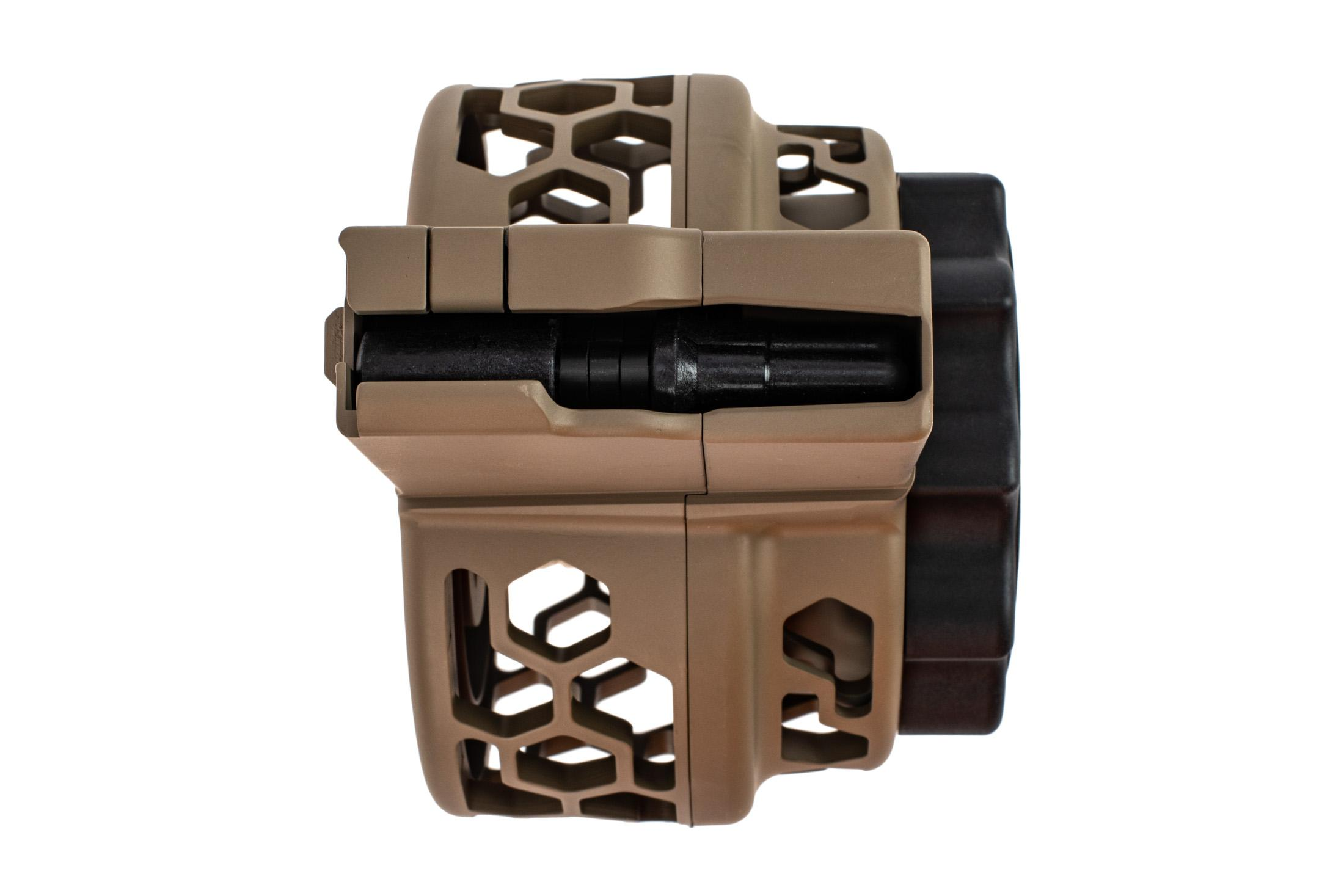 X Products 50 round FDE SR25 drum magazine has a compact reliable design for 7.62 nato and hex pattern skeletonizing.