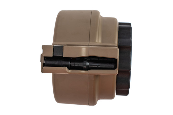 X Products 50 round FDE SR25 drum magazine has a compact reliable design for 7.62 nato