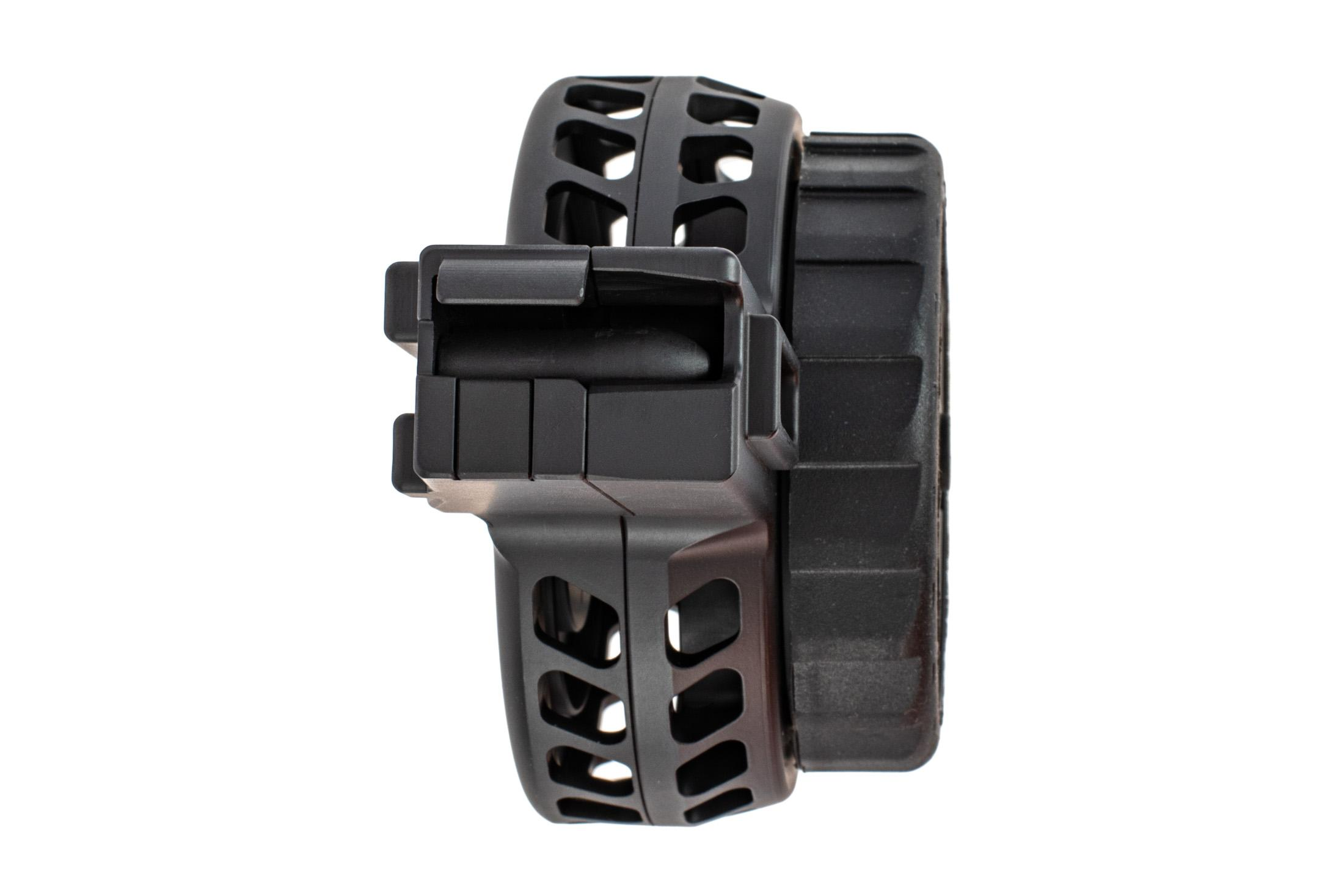 X Products 50 round CZ Scorpion skeletonized drum magazine has a compact reliable design for 9mm Luger