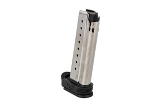 The Springfield Armory XDE Magazine holds 9 rounds of 9mm ammunition and comes with a grip sleeve