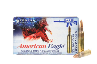 The Federal American Eagle 5.56 NATO ammo features a 55 gr. Bullet and loaded for reliable function