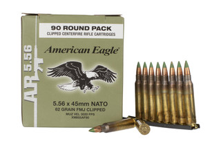 Federal American Eagle XM855 ammunition is laoded with 62-grain FMJ ammunition in 90-round boxes on stripper clips