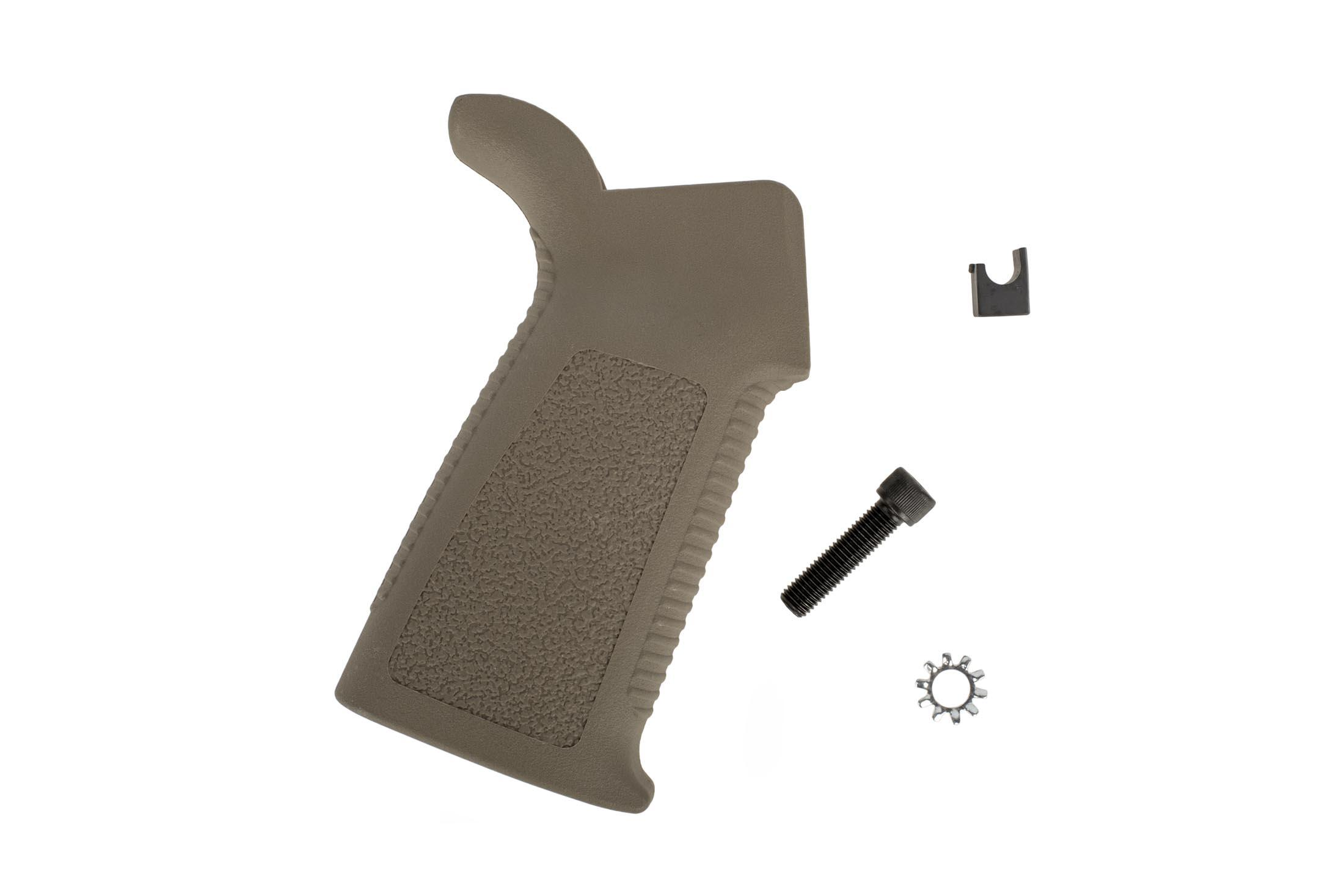EXPO Arms FDE AR-15 RUGGED pistol grip will include the grip, grip screw, lock washer, and an ERGO Gapper!