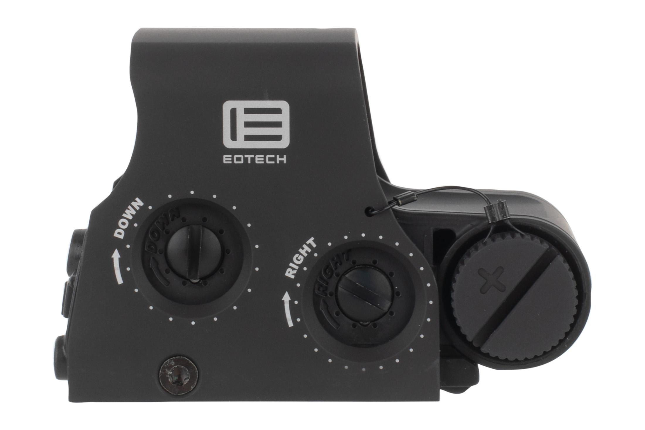 The EOTech XPS2-2 holographic sight features elevation and windage adjustments on the right side